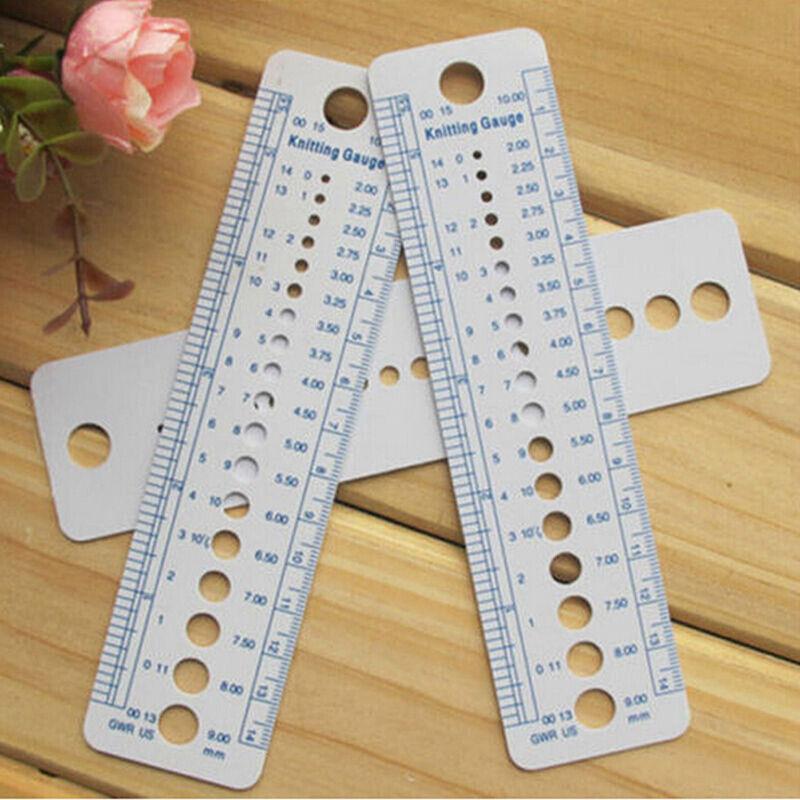 Knitting Accessories Needle Gauge Inch Sewing Ruler Tool CM 2-10mm Sizeasur RAS