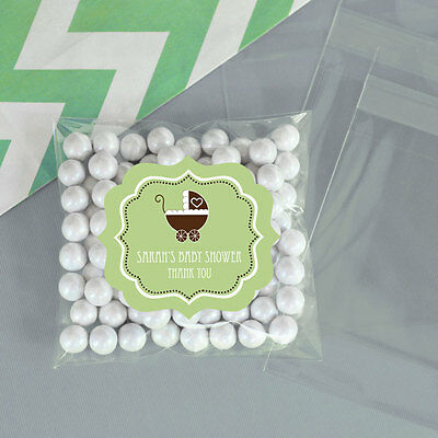 24 Green Baby Gender Neutral Personalized Clear Candy Bags Baby Shower Favors
