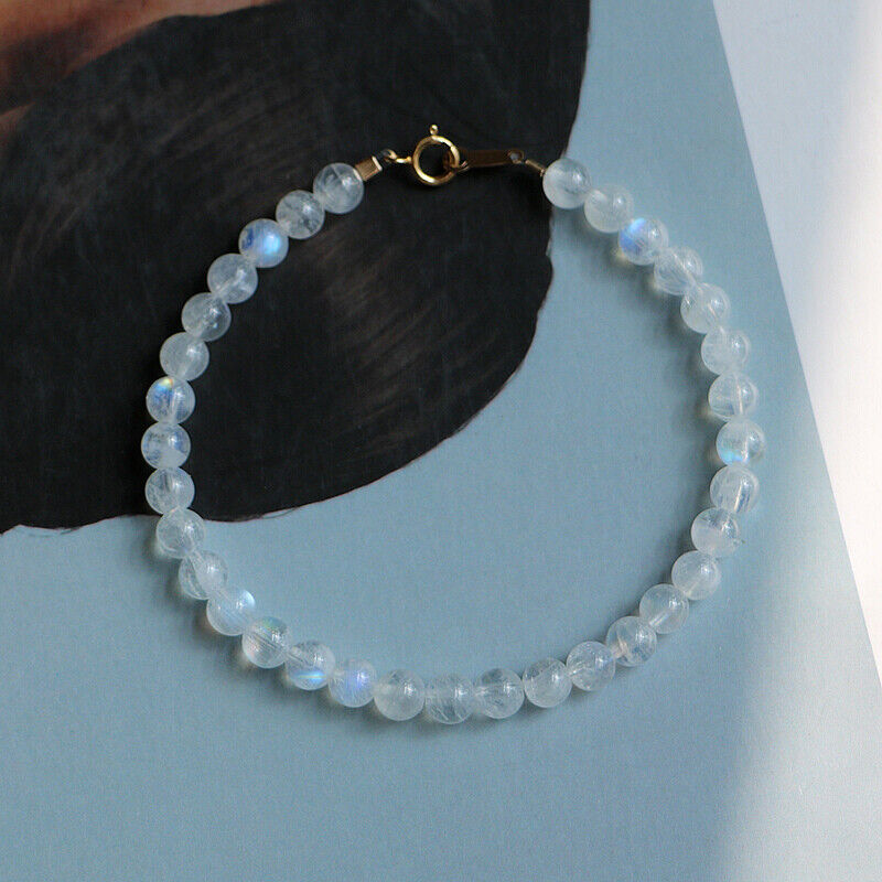 Lii Ji Real Moonstone Bracelet 925 Sterling Silver Gold color Clasp for Women