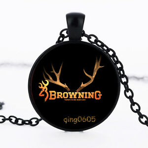 Browning Buck Photo Glass Dome black Chain Pendant Necklace