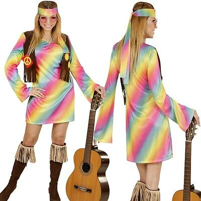RAINBOW HIPPIE GIRL 42/44 (L) Damen Kostüm Flower Power 70er Woodstock # 3353