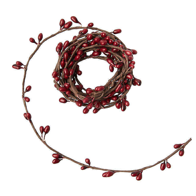 Package of 3 Single Vine Cranberry Red Pip Berry Garland