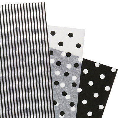 Assorted Black White Polka Dot Stripe Tissue Paper Gift Wrapping 20