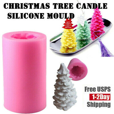 3D Christmas Tree Silicone Candle Mold Soap Fondant Moulds Chocolate Cake Decor Christmas Tree Cake Molds
