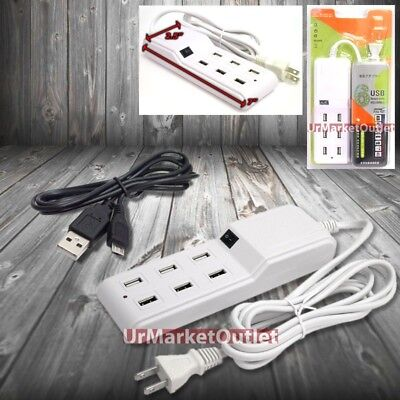 6FT Cable 6xUSB Socket Port Output Power Adapter + Cable Micro USB Universal