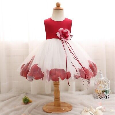 Flower Dress for Baby Girl Petal Gown Baptism 1st Birthday Party Princess
