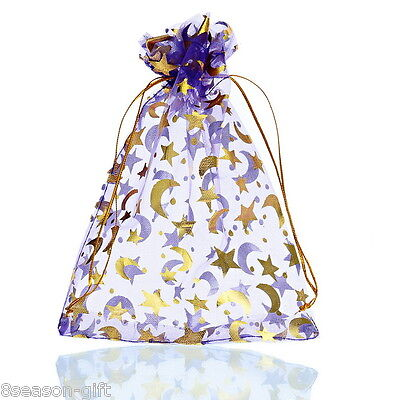 25PCs 13cm x18cm Purple Moon&Star Organza Gift Bags Pouches Wedding/Christmas - Purple Gifts