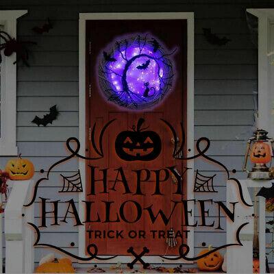 Halloween Decorations Light Up Wreath Purple LED Cat Bats and Creepy Trees 37CM