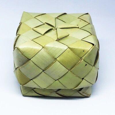 Sticky Rice Small Box Sugar Palm Leaf Thai Lanna Handcraft Vintage Basket 7x7cm.