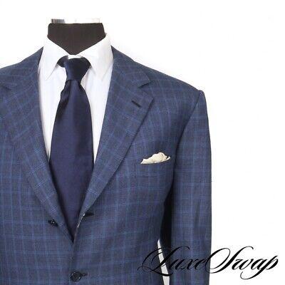 #1 MENSWEAR Brioni Nomentano Sapphire Blue Box Check Flannel Jacket Italy 00 R
