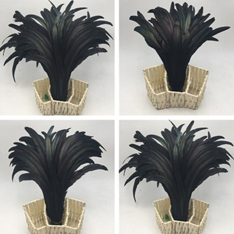 Wholesale 10//50//100//500pcs Black Rooster Tail Feathers 10-18 Inches//25-45cm
