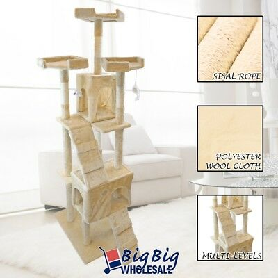 "73"" Cat Tree Deluxe Tower Condo Playhouse Scratching Post Kitten Furniture Beige"