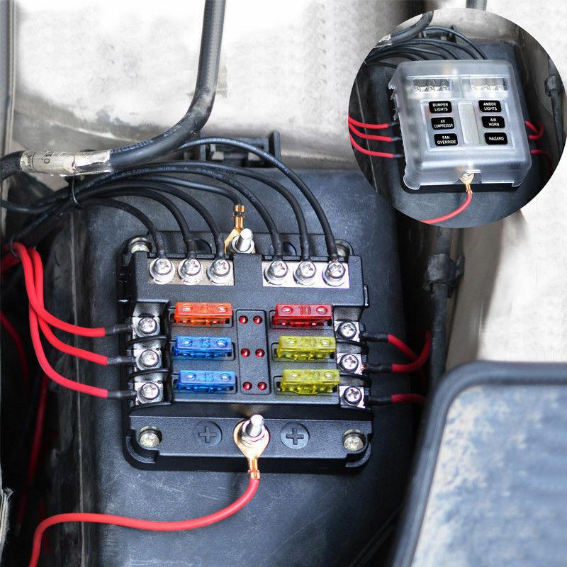 6 Way 12V-24V Car Power Distribution Blade Fuse Holder Box Block Panel Fuses US