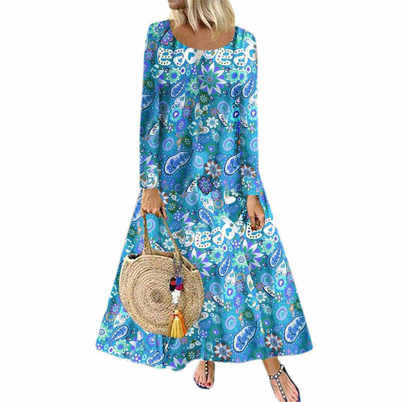 Damen Ärmellos Boho Blumen Kleid Baggy Freizeit Maxikleid Sommerkleid Übergröße