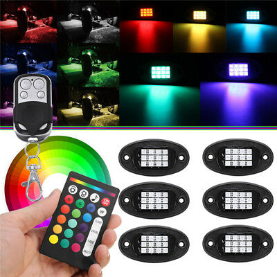 6x RGB LED Rock Lights Car Underglow Lamp for Offroad Truck Boat Remote Control