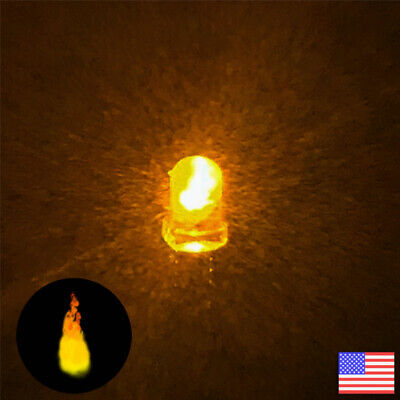 10pcs 3mm Yelow Candle Flicker Bright Flickering Led Light -10x - Fast Us Ship