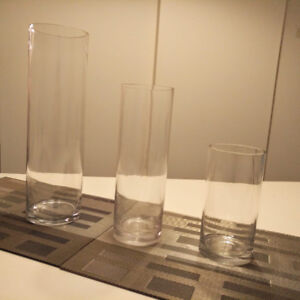 Set of 3 Cylinder glass vases X 15 - Perfect for Center Pieces