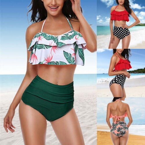 Damen Hohe Taille Volant Neckholder Bikini Set Tankini Schwimmanzug Badeanzug PD