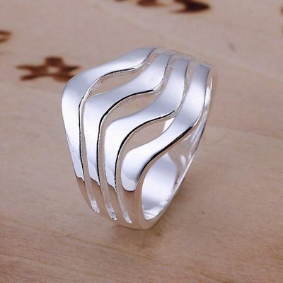 Fashion 925Sterling Solid Silver Jewelry Ripple Rings For Women R123