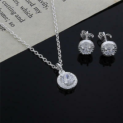 925 cute nice silver Crystal wedding necklace earring jewelry set charm women