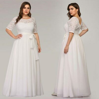 Plus Size Bridal - Ever-Pretty US Plus Size White Wedding Gowns Formal Lace Summer Party Dresses