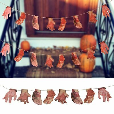 Halloween Fake Body Parts Decorations Props Scary Garland Hanging Bloody Banner#
