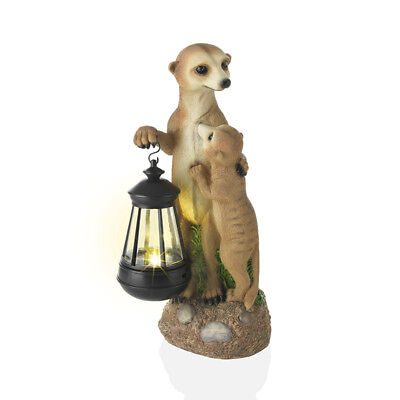 EASYmaxx Solar Leuchte Erdmännchen Familie mit Laterne Garten Deko Lampe 30cm