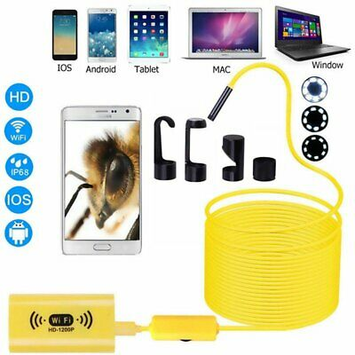 1/5/10M 1200P WIFI Endoscope Waterproof 8mm Inspection Camera for Android IOS UK