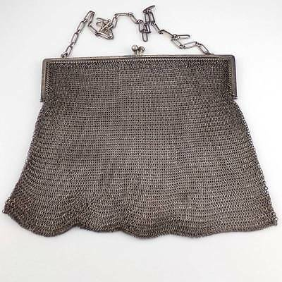 Vintage Antique Sterling Silver Art Deco Chain Mail Purse