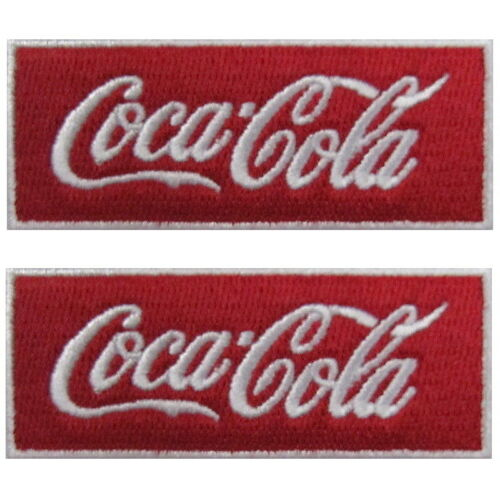 COCA COLA SCRIPT Adhesive Patch x2 Logo Sticker Sew Iron On NEW FREE SHIPPING