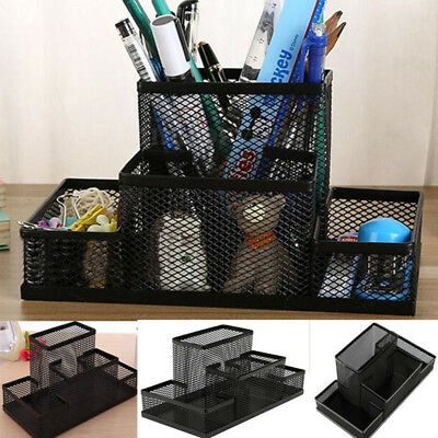 Desk Mesh Organizer Black Office Desktop Holder Metal Pens Storage Pencil Tray