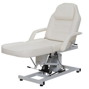 UK White Swivel Massage Couch Bed Beauty Facial Table Electric Lift Sturdy Stand