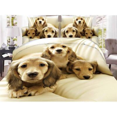 3D Dog Bedding Set 4pcs Comforter Duvet Covers Pillow Case Bed Sheet Queen Gifts