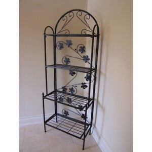 Glass and Wrought Iron Bakers Rack with Glass Shelves