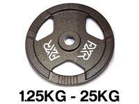 "100kg NEW FXR SPORTS TRI GRIP IRON STANDARD WEIGHT DISC PLATES WEIGHTS GYM - 25MM 1"" HOLE"