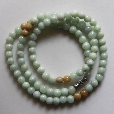 """100% Natural Untreated """"A"""" Beautiful Chinese Jadeite Jade Beads Necklace 6mm 20"""""""