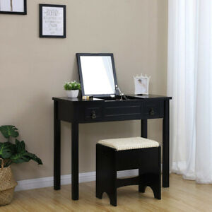 Vanity Set with Flip Top Mirror/ Desk with 2 Drawers, Cushioned