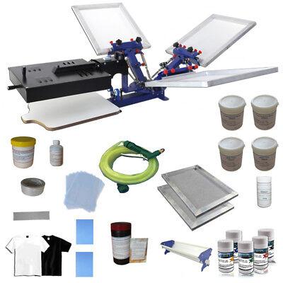 3 Color Screen Printing Press Materials Kit Include Atarter Manual Tools Dryer