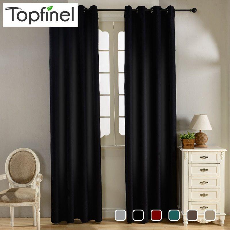 Topfinel Modern Solid Velvet Blackout Curtains for Living Ro