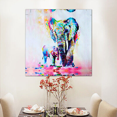 Watercolor Warm Elephant Oil Painting Canvas Unframed Wall Art Paint Home Decor