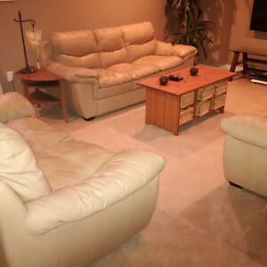 3  piece tanned leather couch set for sale.
