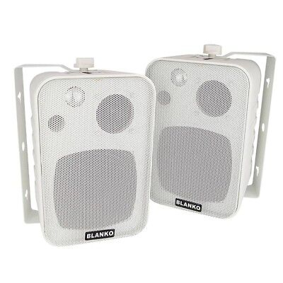 3 Wege Boxen mit Halterung, weiss, Paar, 120-W, Lautsprecher für Decke und Wand