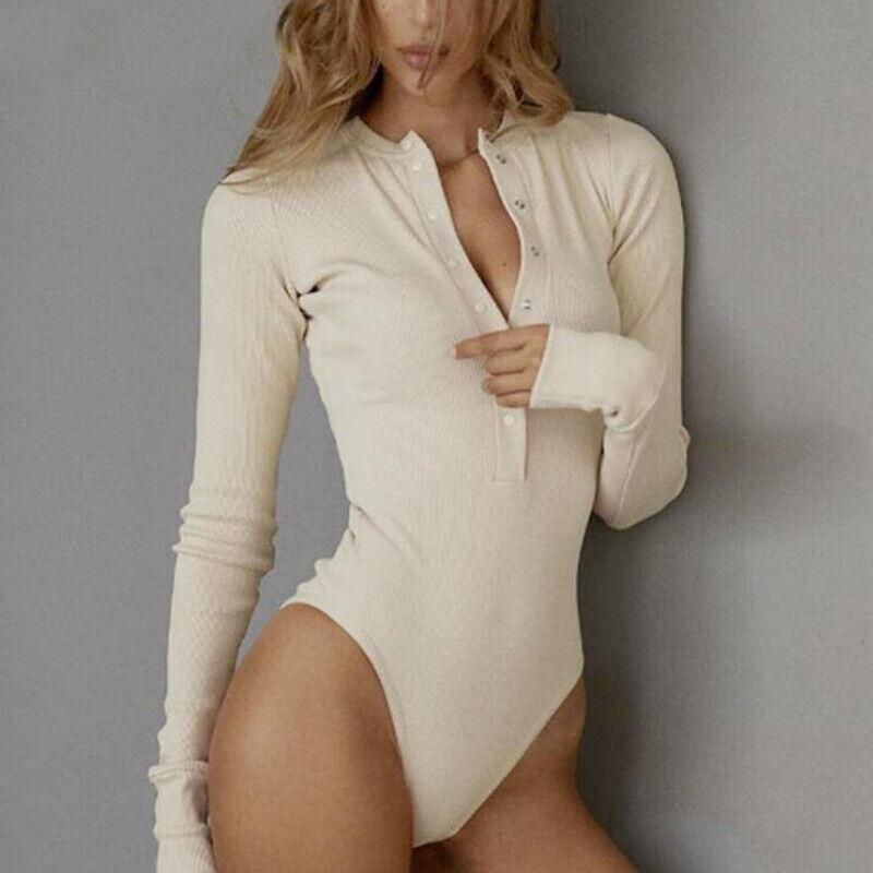 US! Women Slim One-piece Bodysuit Long Sleeve Button Down Skintight Base Shirt