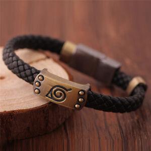 Fashion Men's Black Leather Bracelet Leaf Mark Wristband Cosplay Jewelry Gift