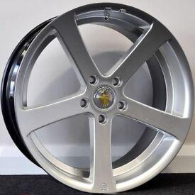 "19"" Cades Apollo Silver Alloy Wheels. Suit Audi A3,VW Caddy,Golf,Jetta, Passat,Seat Leon 5x112"