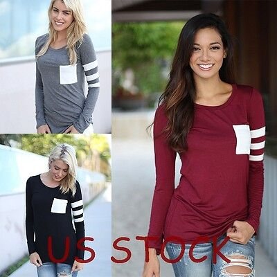 Women Fashion Blouse Summer Casual Loose Long Sleeve Blouse Tops Casual T-shirt