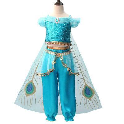 Kid Halloween Costumes 2019 (2019 Movie Aladdin Princess Jasmine Halloween Cosplay Costume Kids Fancy)