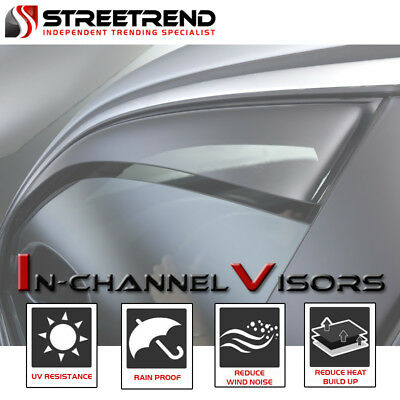 Cab Sun Visors - In-Channel Sun/Wind Guard Deflector Window Visors 4p For 05-15 Tacoma Double Cab