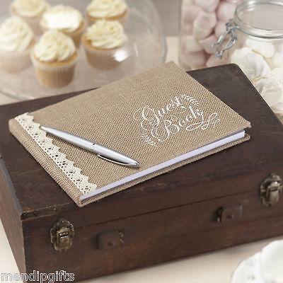 Vintage Affair Hessian Burlap Guest Book - Rustic Vintage Theme Wedding