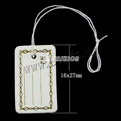 500 Pcs For Jewelry Merchandise Gold Color Price Tags Label Tie String Strung